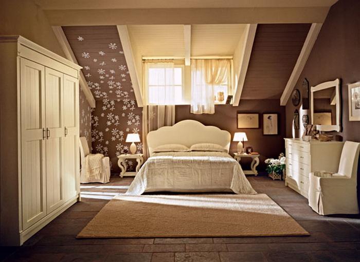 Дизайн спальни в современном стиле на мансарде
