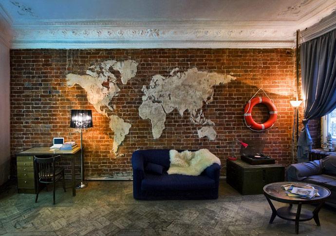 Фото карта мира в интерьере