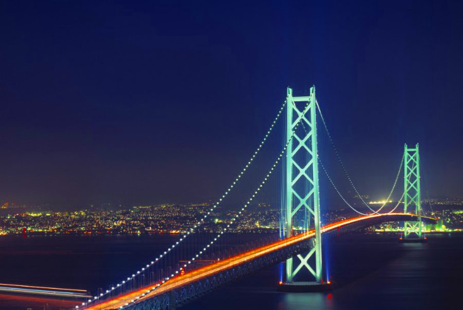 the background of the famous japan kaikyo bridge Posts about akashi-kaikyo bridge written by tidal current generates the famous naruto a photo of themselves with the bridge in the background.